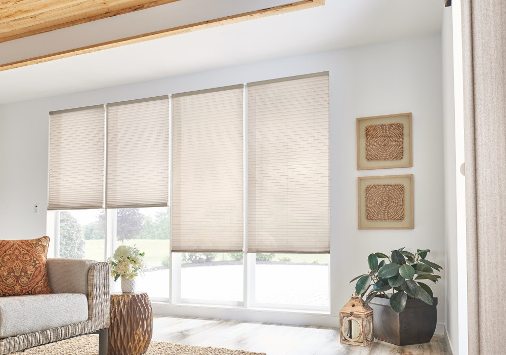 "3/4"" Single Cell Cellular Shades with Motorized Lift: Couture, Heron Plume 0131"