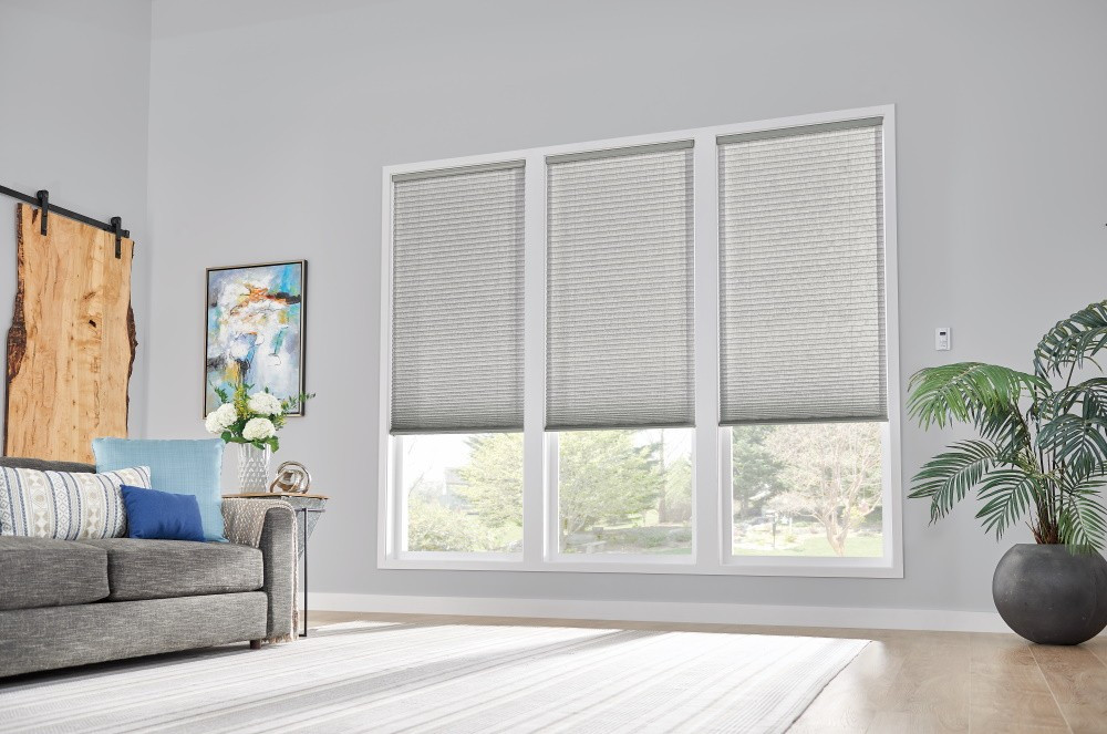"3/4"" Single Cell Cellular Shades with Motorized Lift: Couture, Noble Pewter 0133"