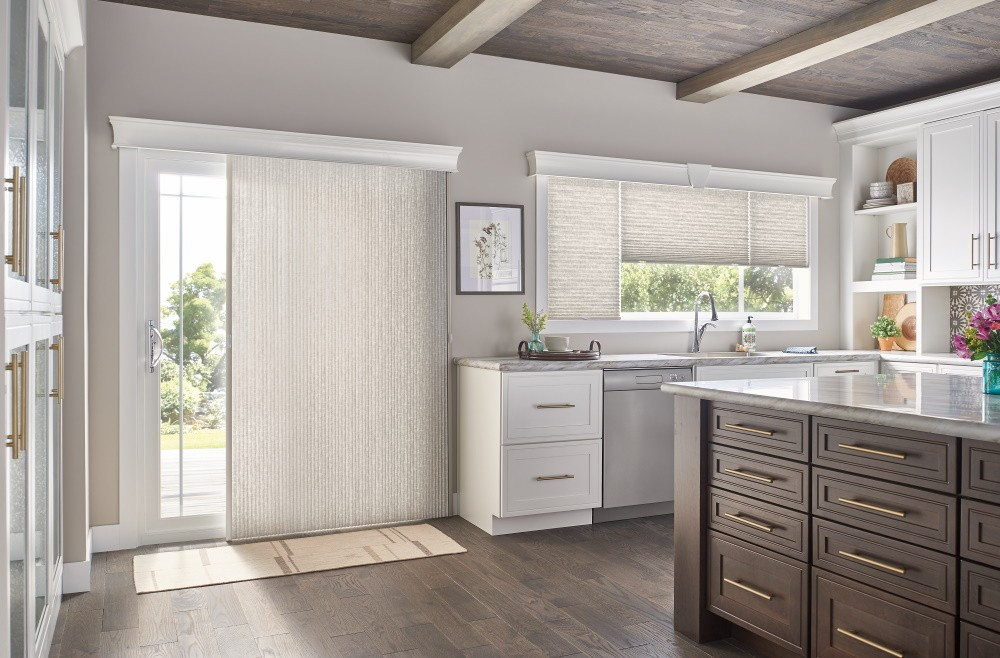 "Door: 3/4"" Single Cell Slide-Vue??? Cellular Shade: Prestige, Beige Influence 0590 with 5 1/2"" Regal Cornice: Pearl 1840            Windows: 3/4"" Single Cell Cellular Shades with Cordless Lift, Three on One Headrail: Prestige, Beige Influence 0590 with 5 1/2"" Regal Cornice with Keystone: Pearl 1840"