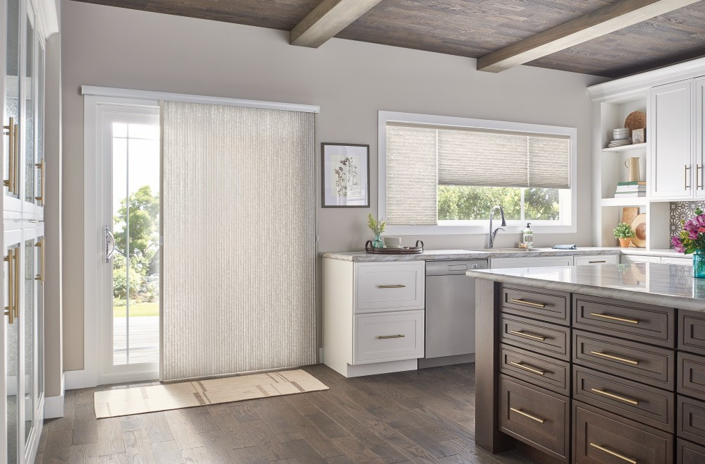 "Door: 3/4"" Single Cell Slide-Vue??? Cellular Shade: Prestige, Beige Influence 0590 Windows: 3/4"" Single Cell Cellular Shades with Cordless Lift, Three on One Headrail: Prestige, Beige Influence 0590"