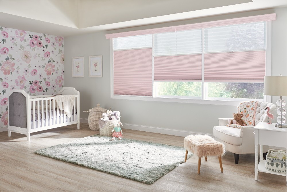 "Perfect-Vue??? Shades with Cordless Lift: 2"" Pleated Shades: Serendipity, Heavenly 5800 (top) and 1/2"" Double Cell Cellular Shades: Sanctuary, Pink Rose 1465 (bottom) with 4 1/2"" Symphony Cornice with Keystone: Custom Color"