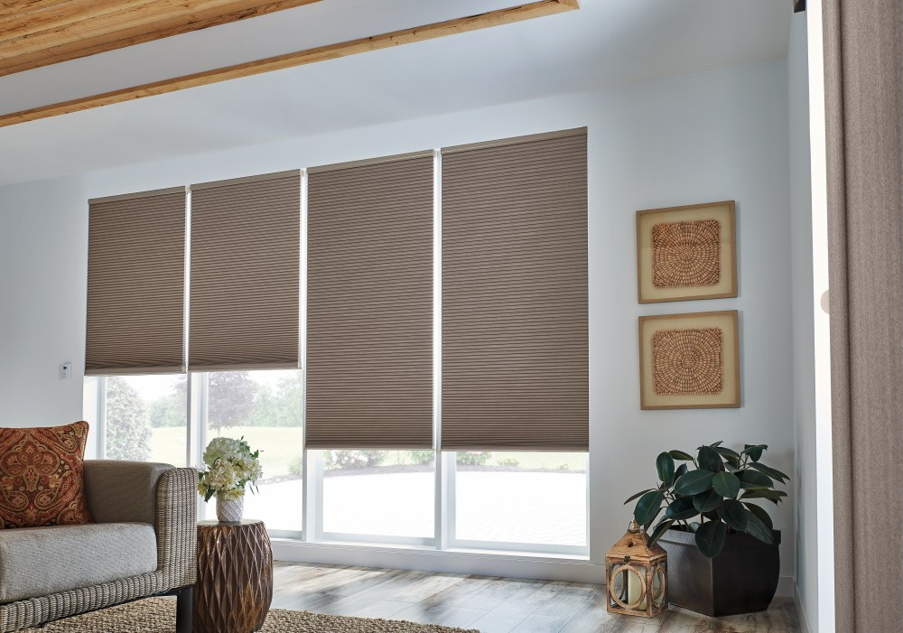 "1/2"" Double Cell Cellular Shades with Motorized Lift: Sanctuary, Dark Taupe 1472"