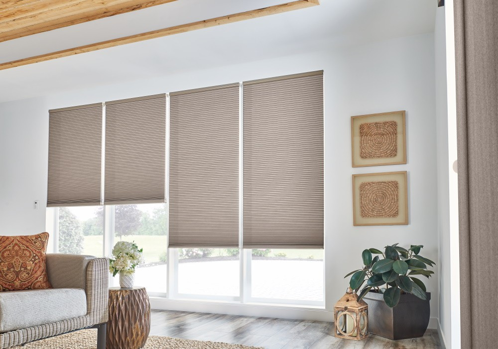 "1/2"" Double Cell Cellular Shades with Motorized Lift: Splendor, Dark Taupe 1560"