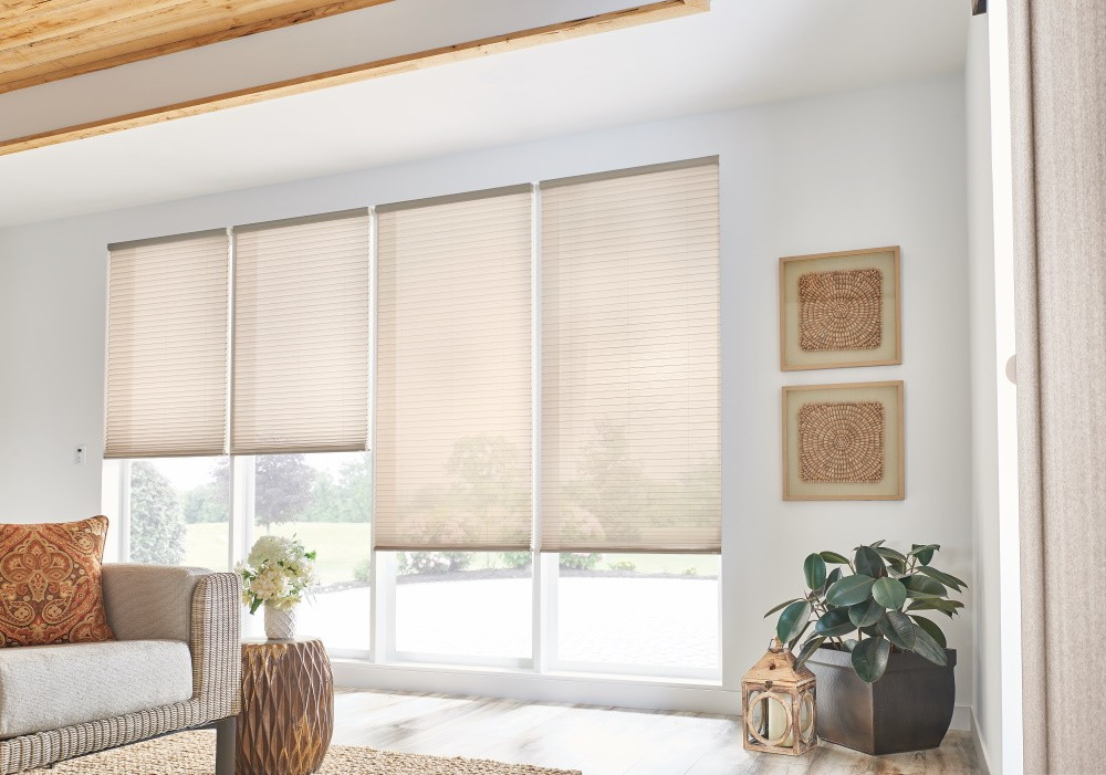 "3/4"" Single Cell Cellular Shades with Motorized Lift: Simply Sheer, Mocha 2154"