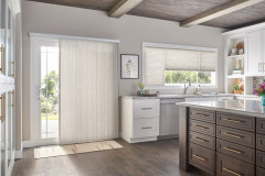 """Door: 3/4"""" Single Cell Slide-Vue??? Cellular Shade: Prestige, Beige Influence 0590 Windows: 3/4"""" Single Cell Cellular Shades with Cordless Lift, Three on One Headrail: Prestige, Beige Influence 0590"""