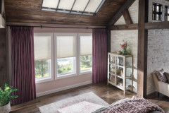 """Skylights: 3/4"""" Single Cell SkyTrack??? Skylight Cellular Shades with Cordless Lift: Fanfare, Cosmic Light 0692Windows: 3/4"""" Single Cell Cellular Shades with Cordless Lift: Fanfare, Cosmic Light 0692Drapery: Pinch Pleat Drapery: Luminous, Majestic 2250  Hardware: 1 3/8"""" Opulence Wood Traverse Pole with Kirtling Finials: Regal Walnut 409"""