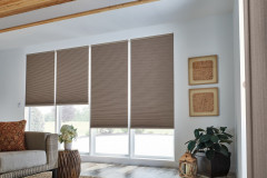 """1/2"""" Double Cell Cellular Shades with Motorized Lift: Sanctuary, Dark Taupe 1472"""