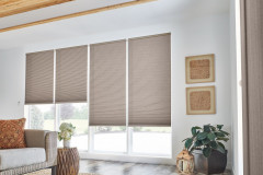 """1/2"""" Double Cell Cellular Shades with Motorized Lift: Splendor, Dark Taupe 1560"""