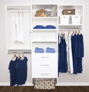 Closets with blue and white clothes